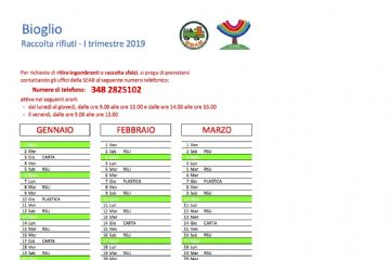 Calendario 2019 per la raccolta differenziata - primo trimestre